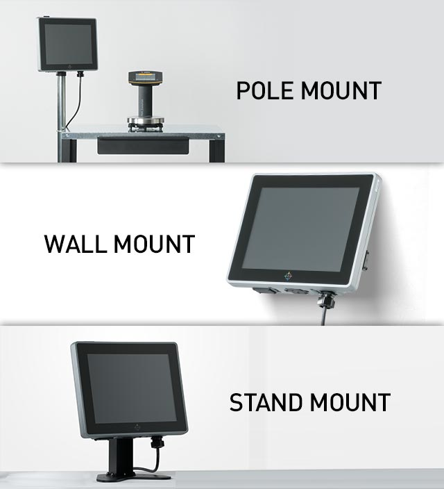 Photos of the three ways the new TOUCHMIX unit can be mounted, pole mount, wall mount or stand mount
